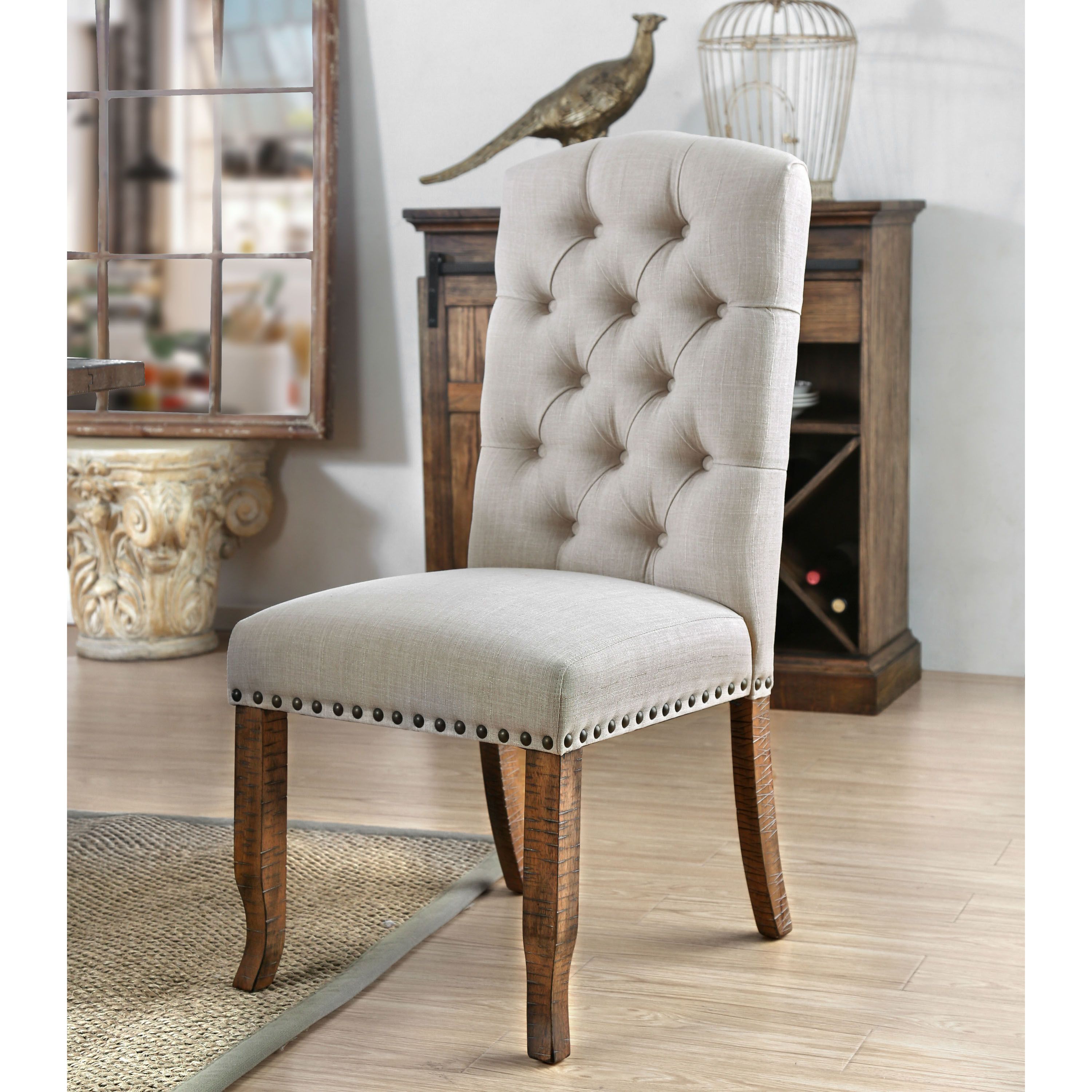 Furniture Of America Hail Rustic Fabric Tufted Dining Chairs Set