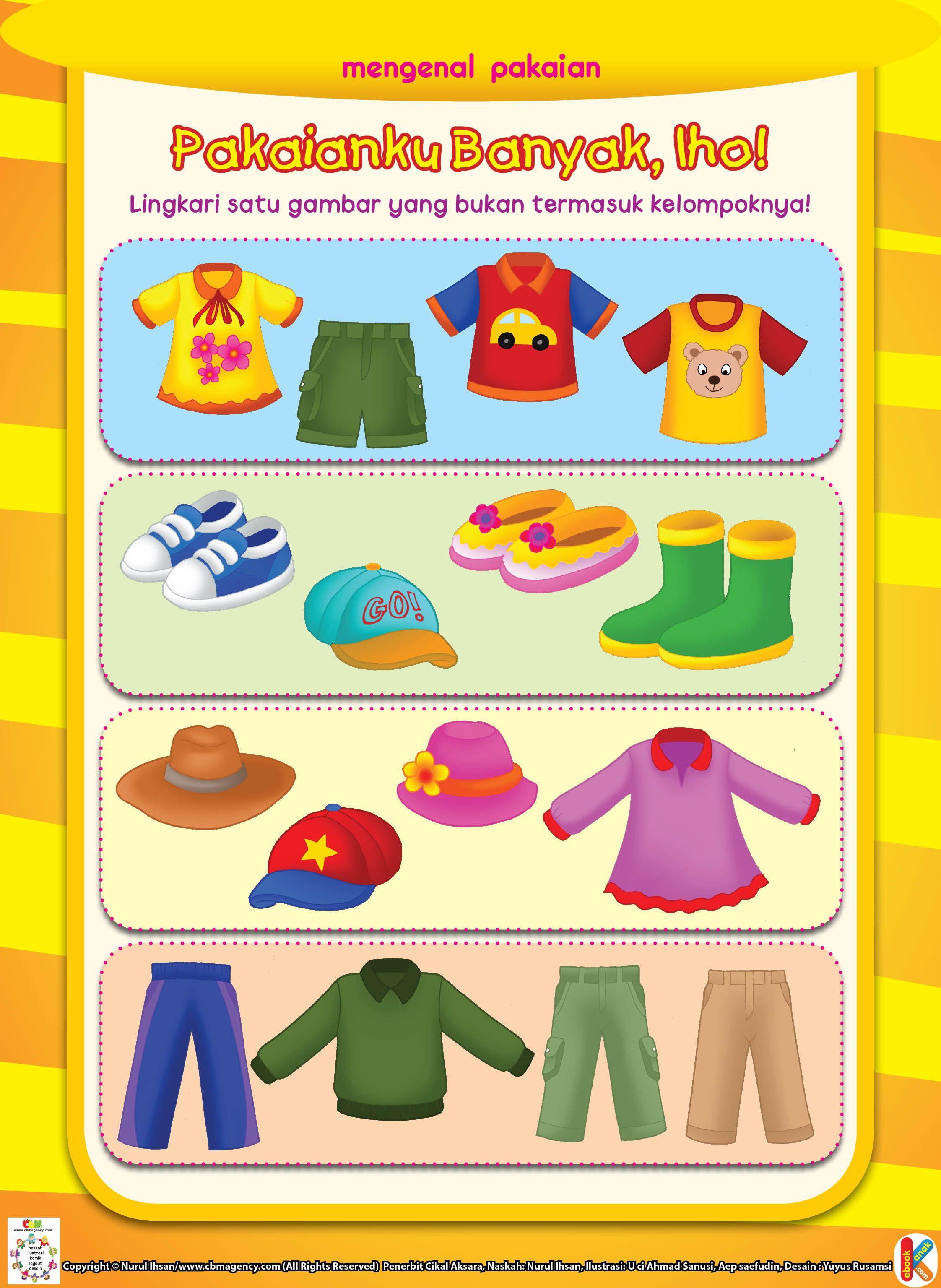 Mengenal Pakaian Ebook Anak Buku Mewarnai Anak Pakaian