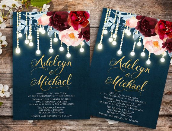 Navy blue Marsala Wedding Invitation printable - wedding invitation