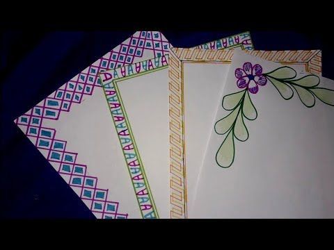 4 in 1 simple border design for project| assignment front ...
