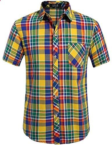 SSLR Men's Straight Fit Short Sleeve Gingham Shirt Large, Yellow  Go to the website to read more description.