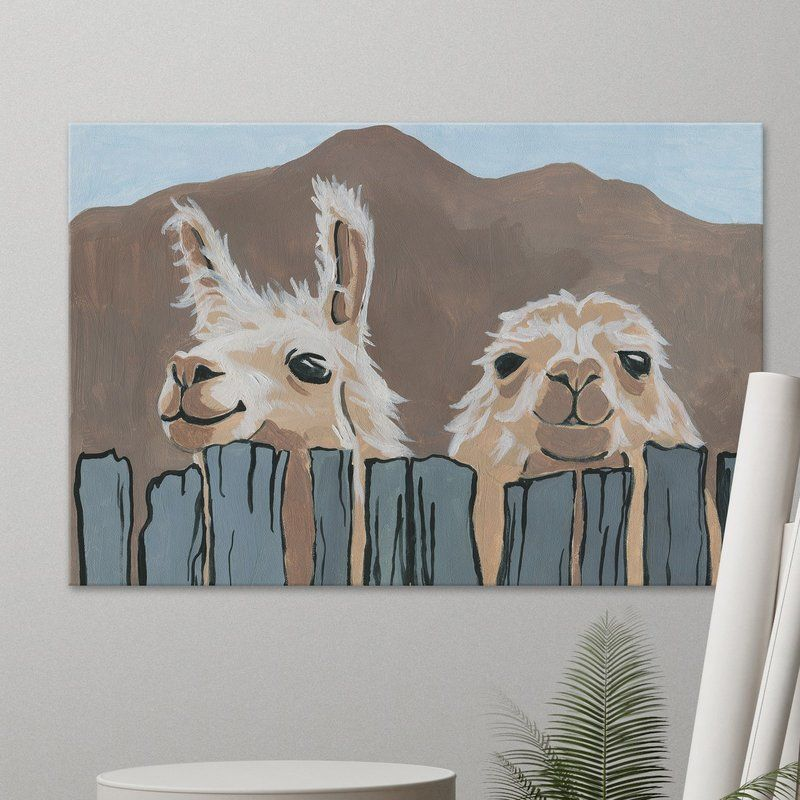 Peekaboo Llamas Acrylic Painting Print On Wrapped Canvas In 2021 Animal Canvas Paintings Canvas Art Painting Diy Art Painting