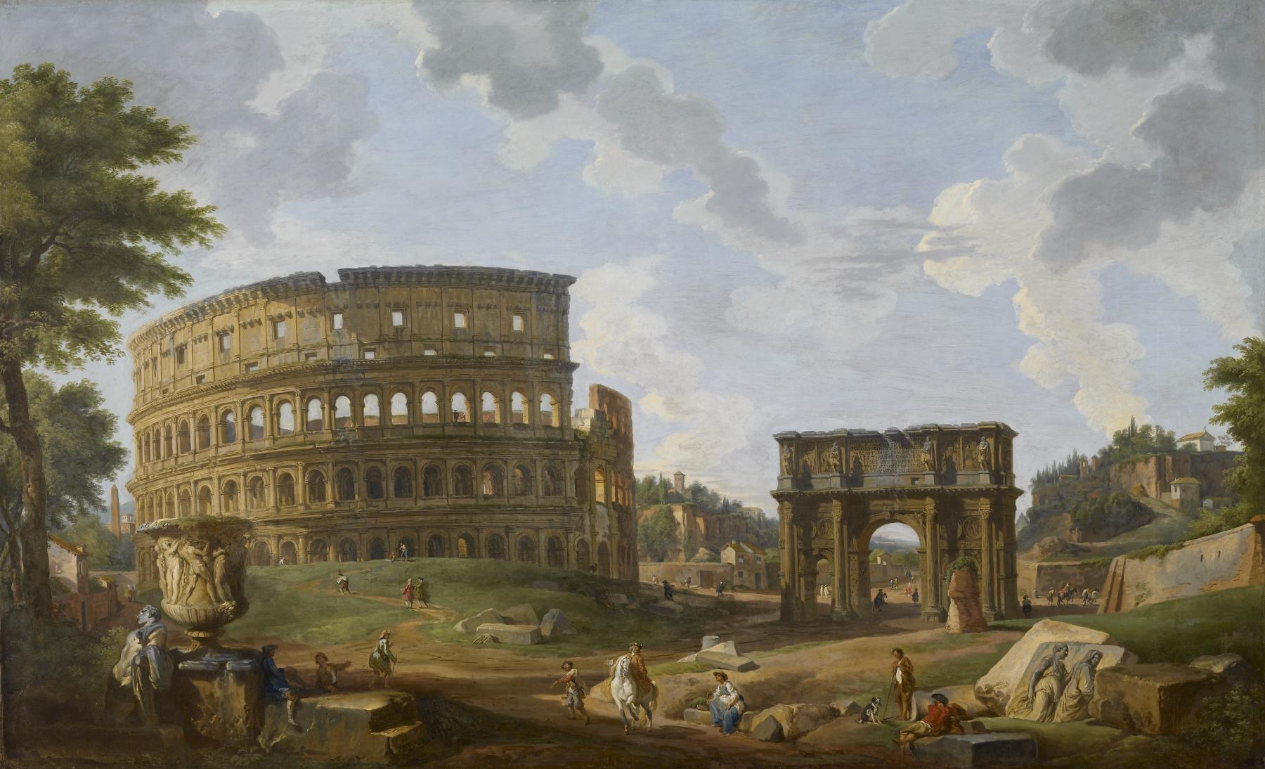 Pintura Del Coliseo Romano En Las Ruinas De Roma Por