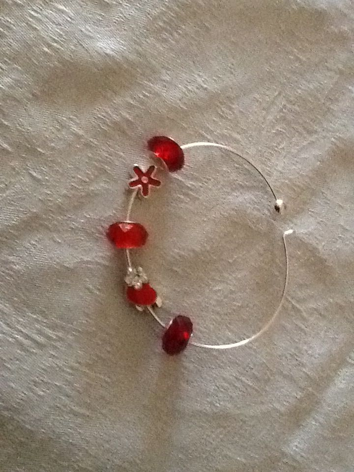 Red Murino Glass Beads With Floral And Heart Charm Accents On Silver
