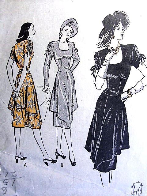 1940s STUNNING Dress and Tunic Skirt Pattern BUTTERICK 4023 Eye Catching Design Dinner Evening Dress Horseshoe Neckline Drawstring Sleeves Bust 34 Vintage Sewing Pattern