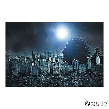 Haunted Cemetery Backdrop Halloween parties - create halloween decorations