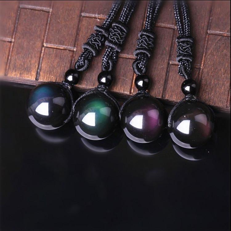 Rainbow Obsidian Macrame Necklace from Mexico