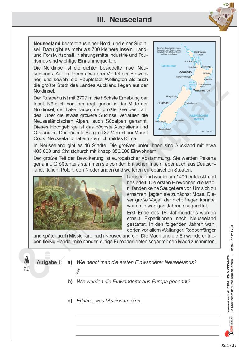 Neuseeland | Sachkunde / Sachunterricht Unterrichtsmaterialien ...