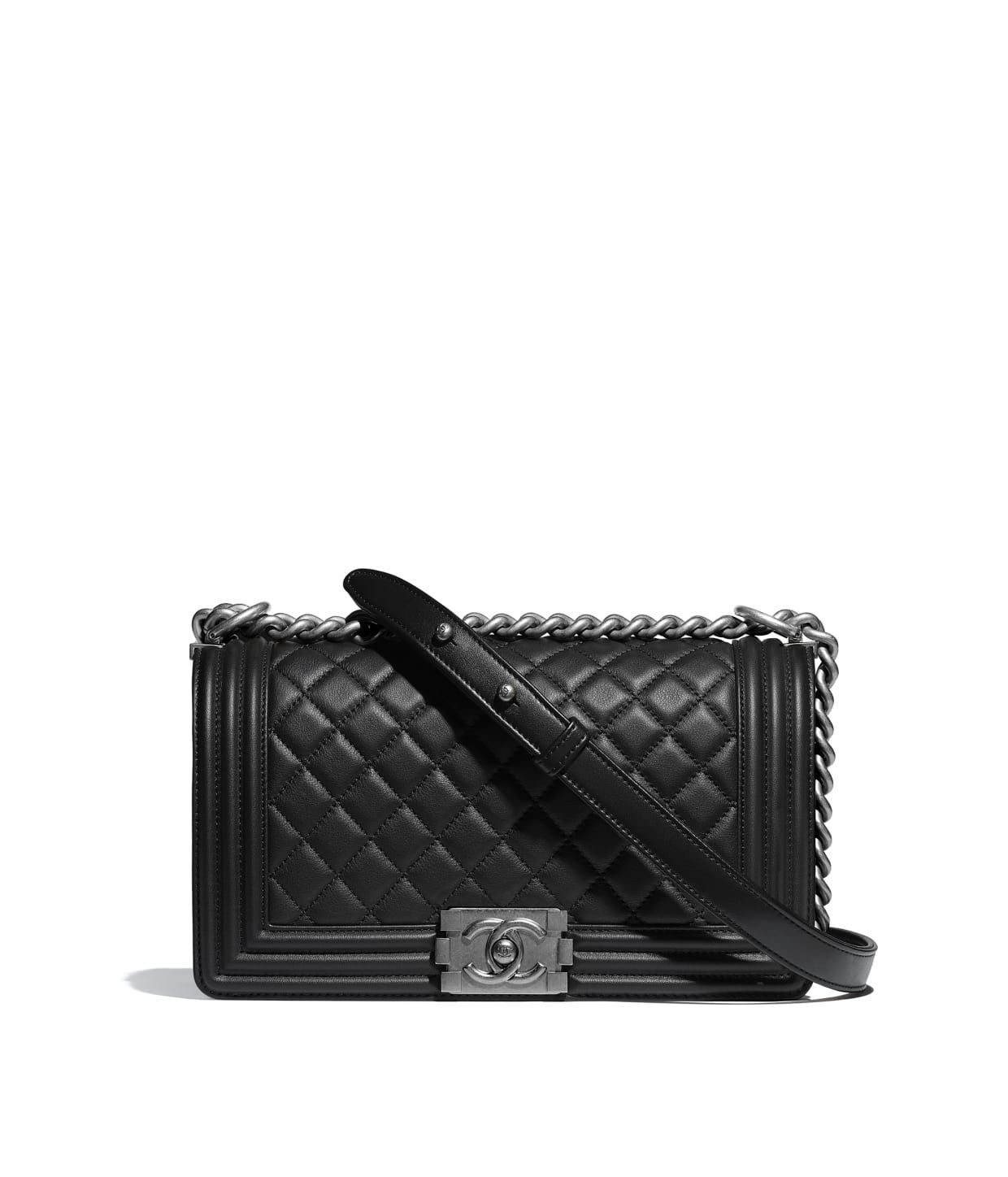 6c058bf8c12b8 Discover the CHANEL Calfskin & Ruthenium-Finish Metal Black BOY CHANEL  Handbag, and explore the artistry and craftsmanship of the House of CHANEL.