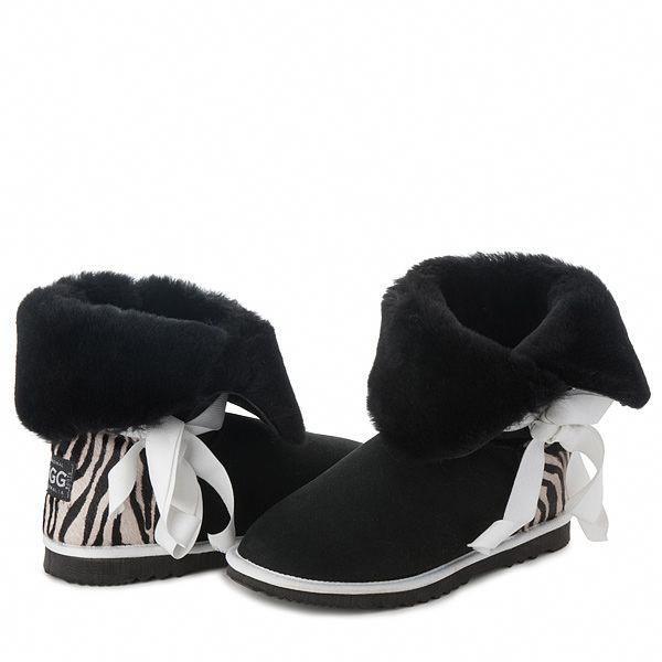 Black Betty Bow UGG Boots with Zebra Heel. Aussie Made. #black #zebra #new #ugg #uggboots #boots #australian #aussie #australia #sheepskin #laces #bow #SheepskinBoots