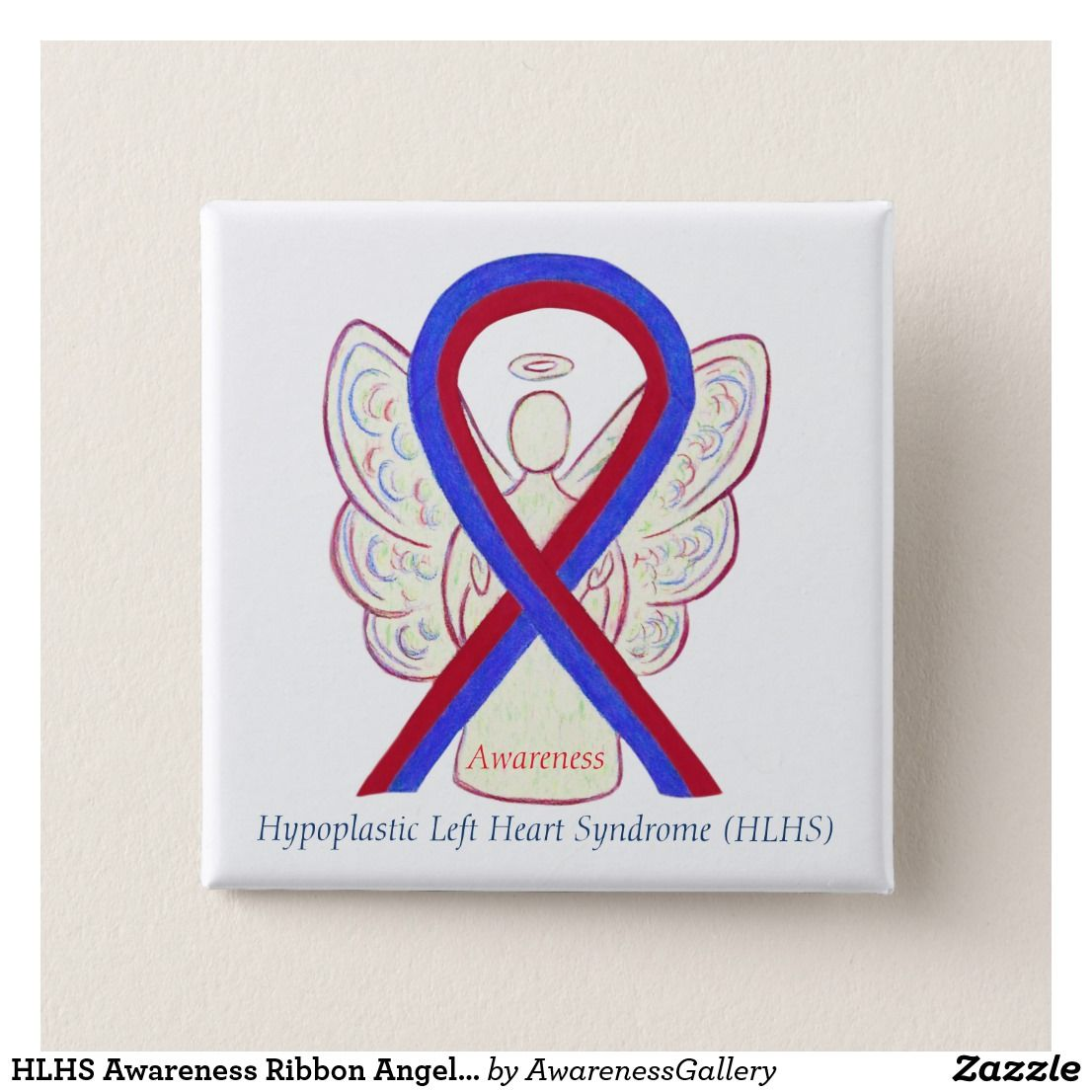 Hlhs Awareness Ribbon Angel Custom Button Pins Red Blue