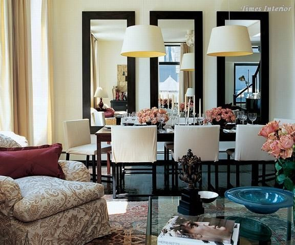 Love the illusion of more space with these mirrors for Long living room mirror