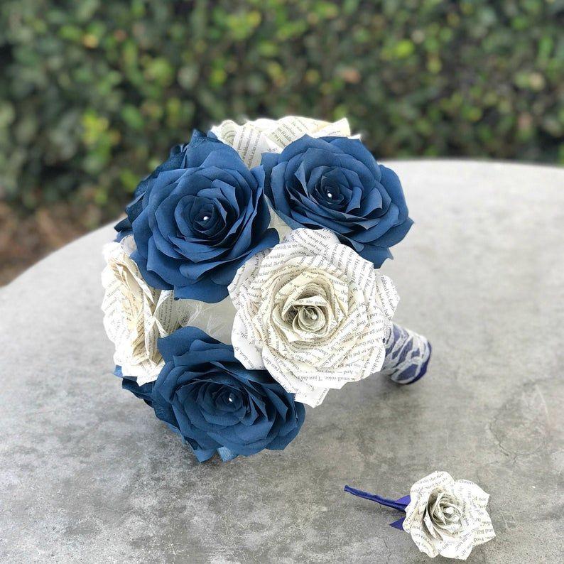 Página Del Libro Y Azul Marino Filtro Papel Rosa Ramo De Novia Etsy Ramo De Novia Uñas Azules Ramo Damas De Honor