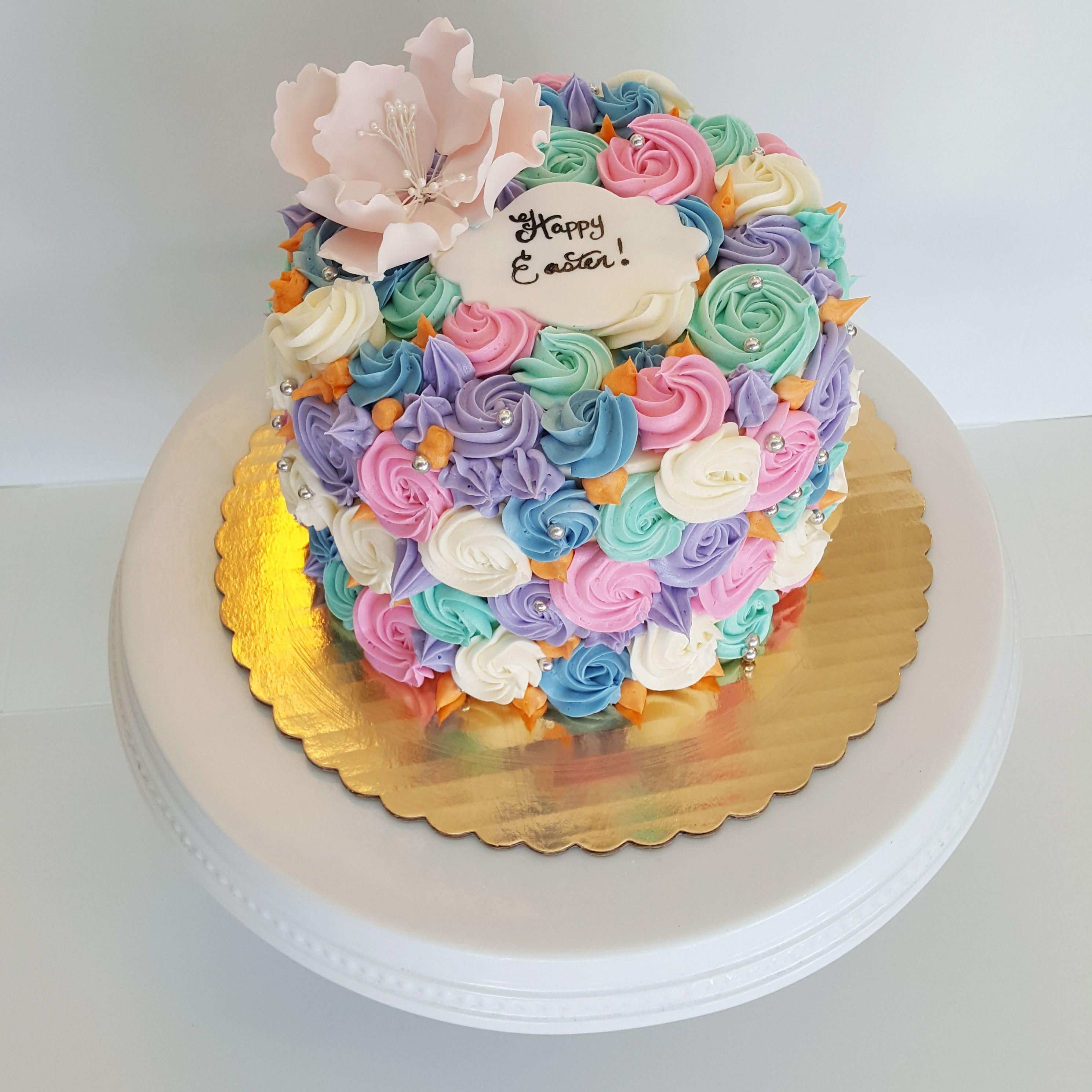 Pastel Rosette Buttercream Cake Cake Buttercream Cake Bakery Cafe