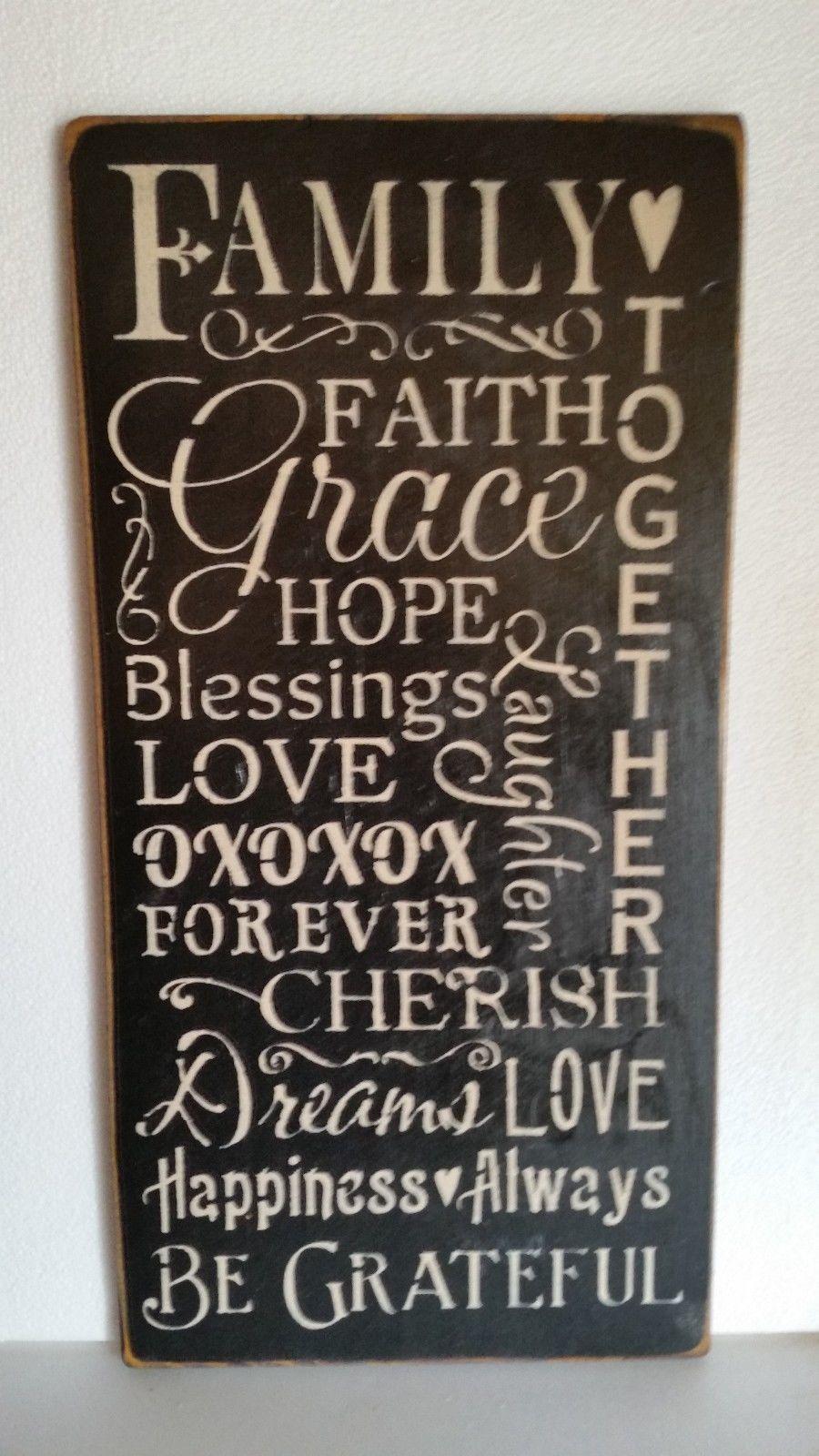 wood sign FAMILY FAITH HOPE LOVE prim