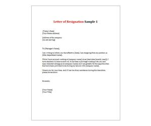 Letter Of Resignation   Get This Free Printable Customizable