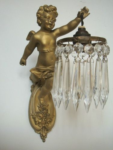 Vintage French Cherub Crystal Wall Sconce