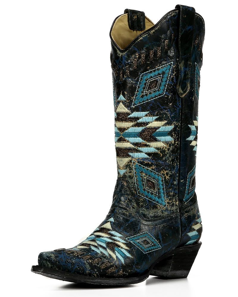Women's Distressed Turquoise Aztec Woven Cowgirl Boot Snip Toe - E1008