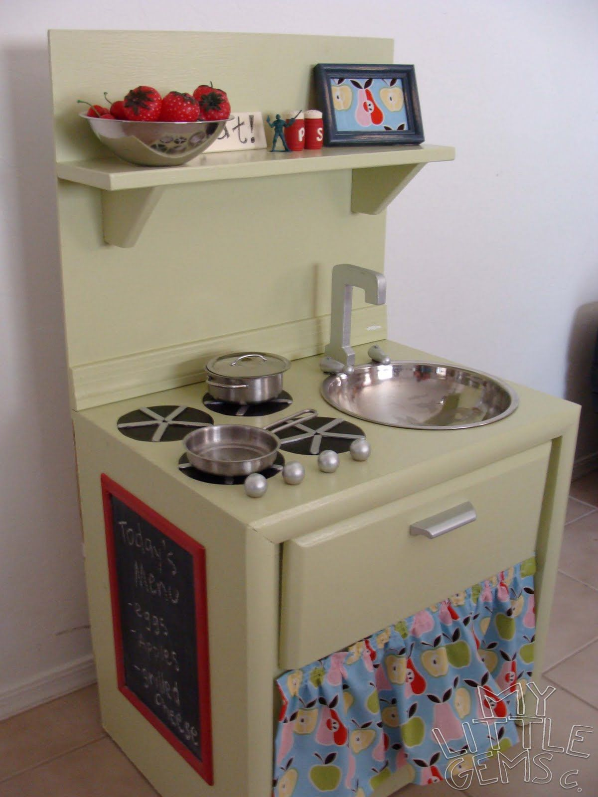 Play kitchen from a nightstand. | Crafty Corner | Pinterest