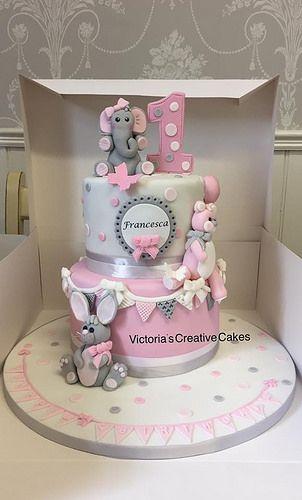 Wondrous Elephant And Bunny Cake By Victoria Lane Baby Cake 1St Birthday Funny Birthday Cards Online Necthendildamsfinfo