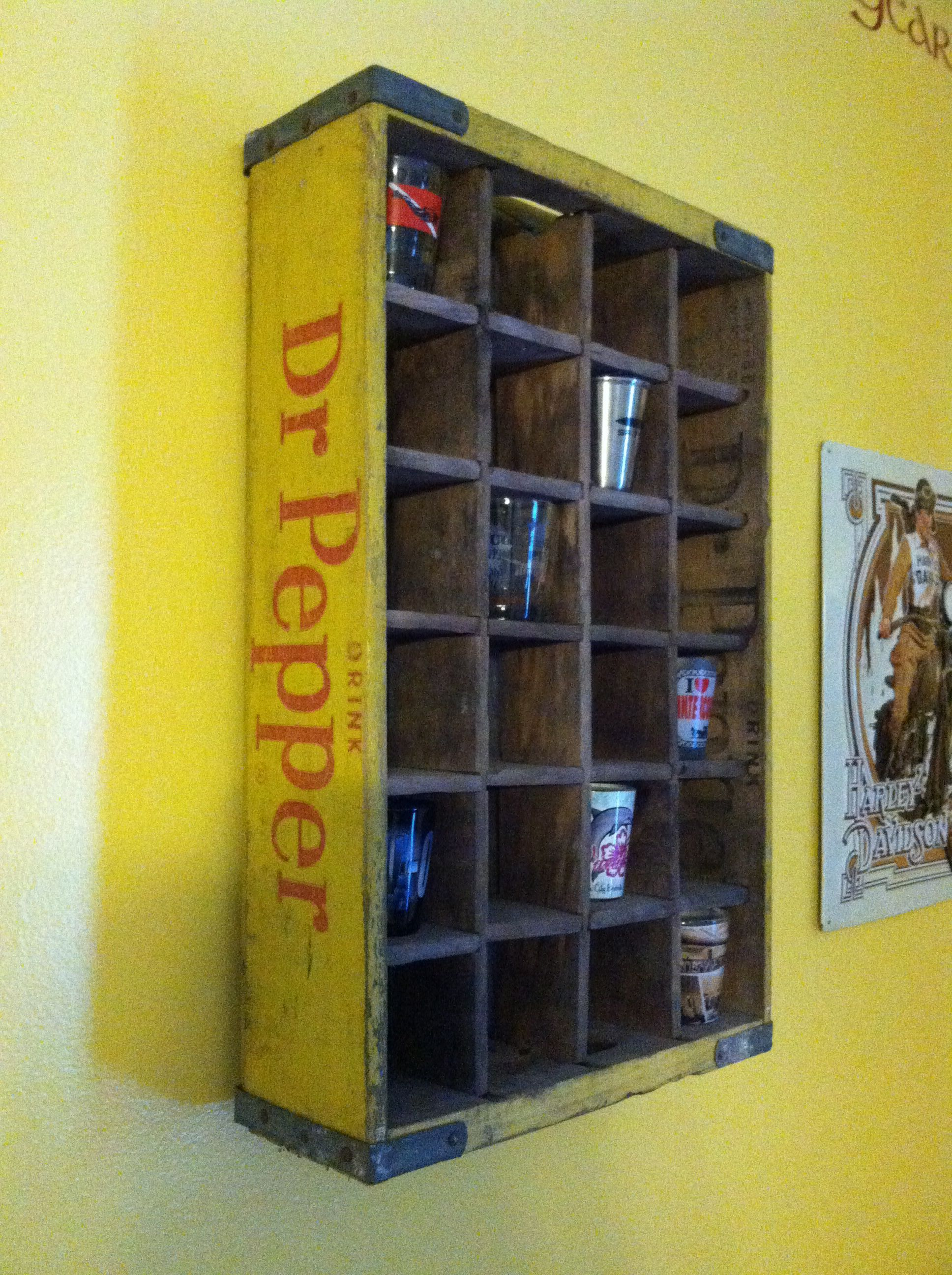 Shot glass wall display ~ old wooden coke bottle crate | Inspiring ...