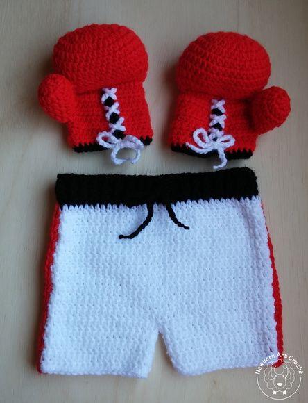 eea591215 Lutador de Boxe Newborn Fantasias De Crochê Para Bebê, Roupas De Crochê  Para Bebê,