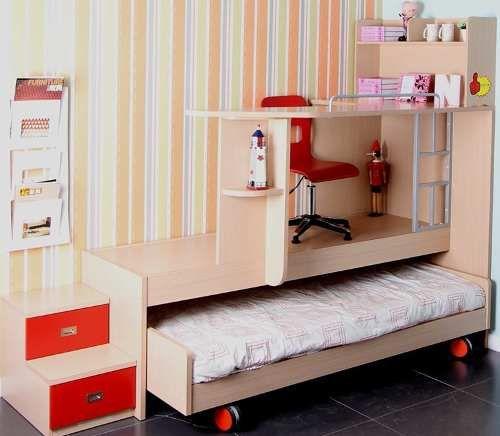 cama ahorradora de espacio con escritorio encima y cajones