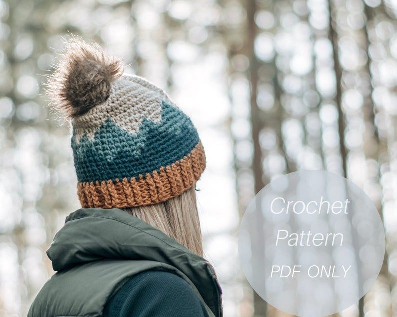 Mountain Range Hat / Adult sizes/ Crochet Hat Pattern / Crochet Beanie Pattern / Pattern Only* #crochetformoney