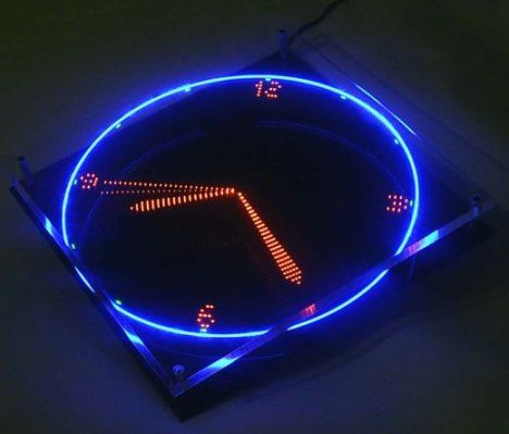 Spinning Led Clock Tells Time Led Clock Wall Clock Design New Electronic Gadgets