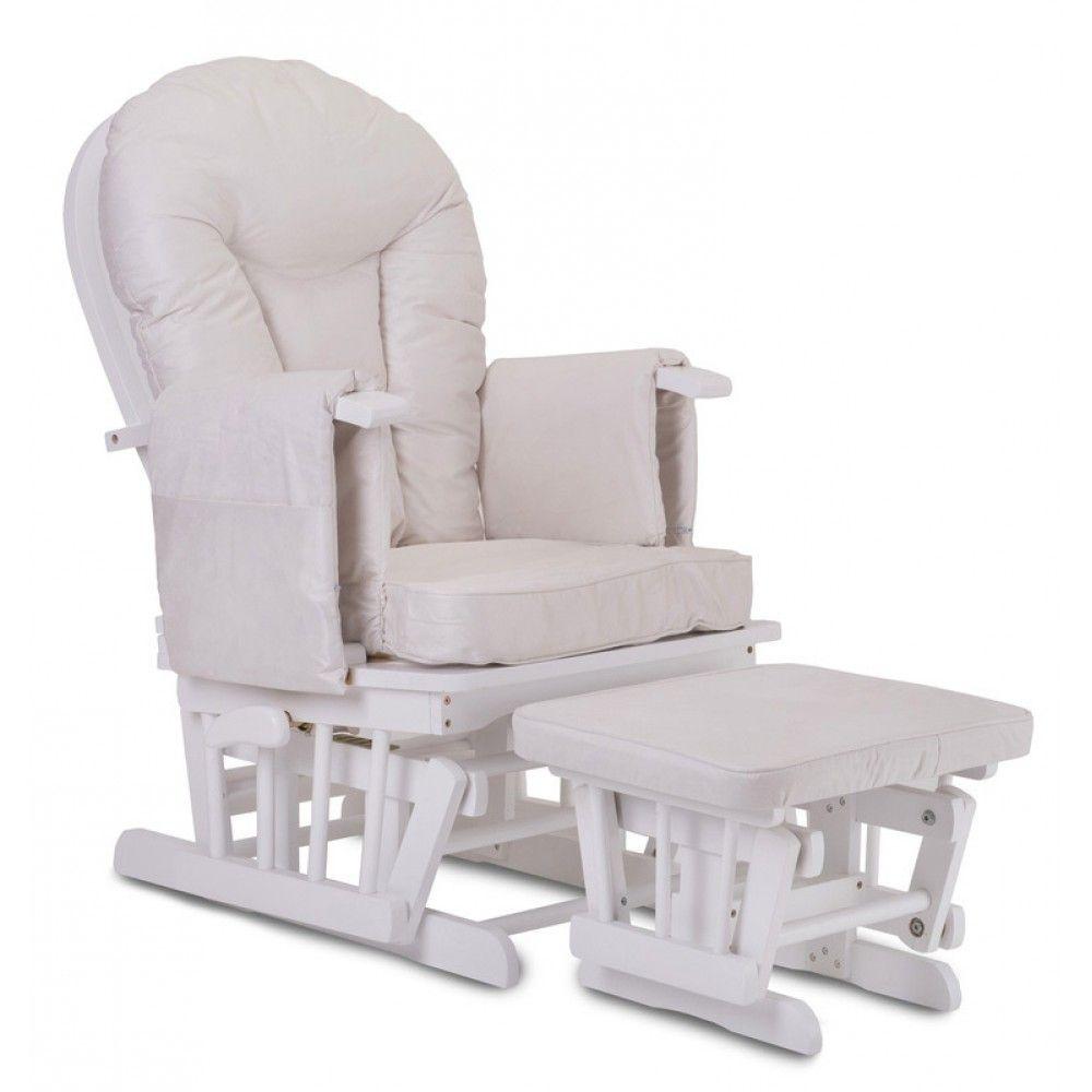 High Quality White Wood   Supremo Bambino Nursing Glider Chair (Cream Cushions)