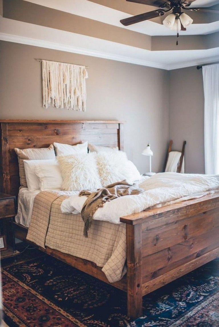 45 Stunning Rustic Farmhouse Master Bedroom Ideas #modernrusticbedroom