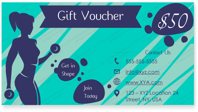 Gym Gift Certificate Template Giftcard Giftcertificate