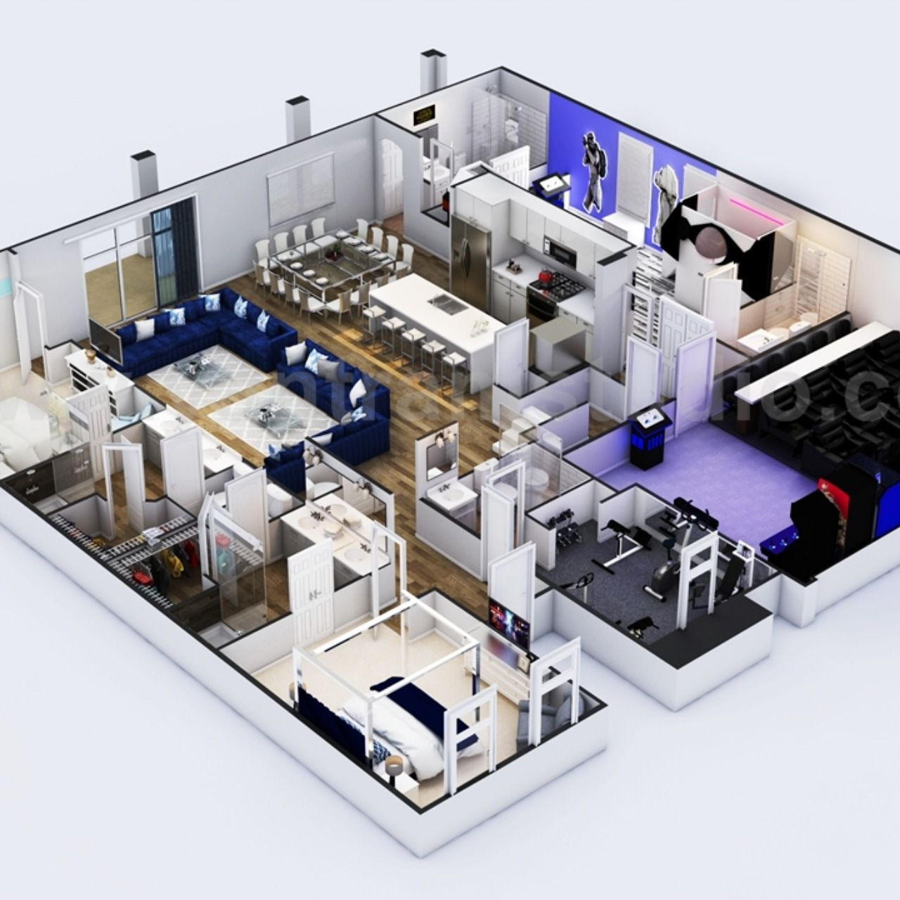 Multi Bedroom Residential 3d Home Floor Plan Design With Theater Kids Room And Game Zone Ideas Floor Plan Design House Floor Plans Mansion Floor Plan