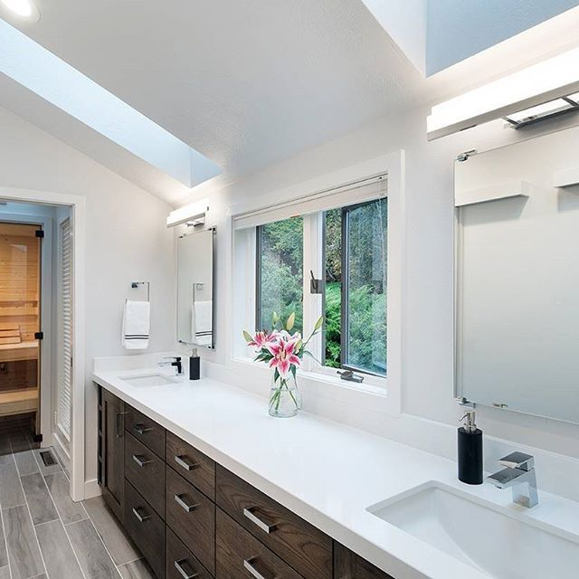 Double Sinks Organic White Countertops And A Sauna We Re In