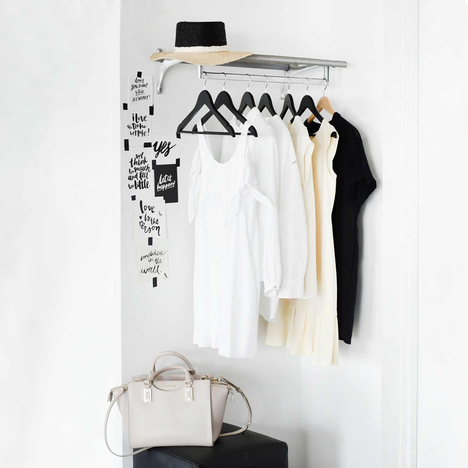 Interior. Monochrome interior. Scandinavian home. Wall gallery. Print design. Graphic design. Lettering. Typography. Home inspiration. Home styling. Wardrobe. Fashion. Style. Lifestyle. Wardrobe styling.