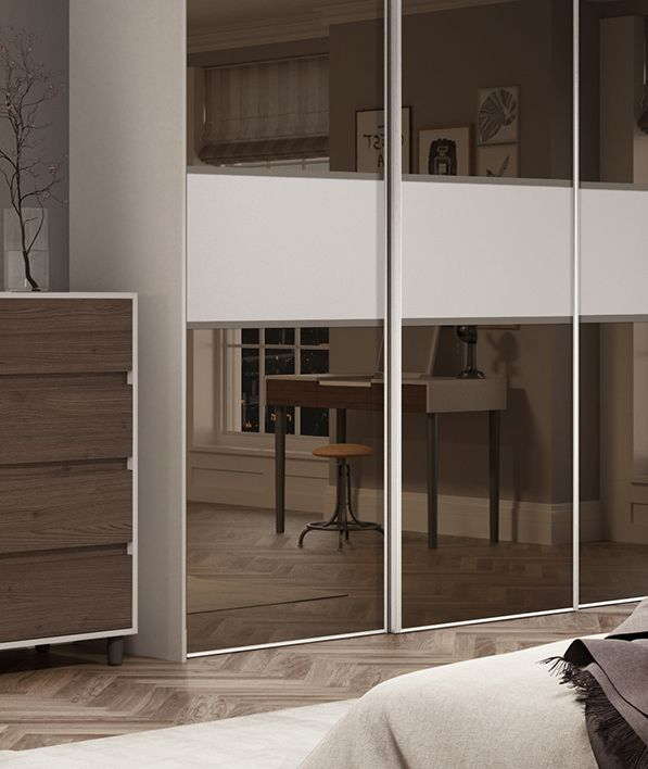 classic 3 panel fineline sliding wardrobe doors in bronze mirror and cashmere with silver frame
