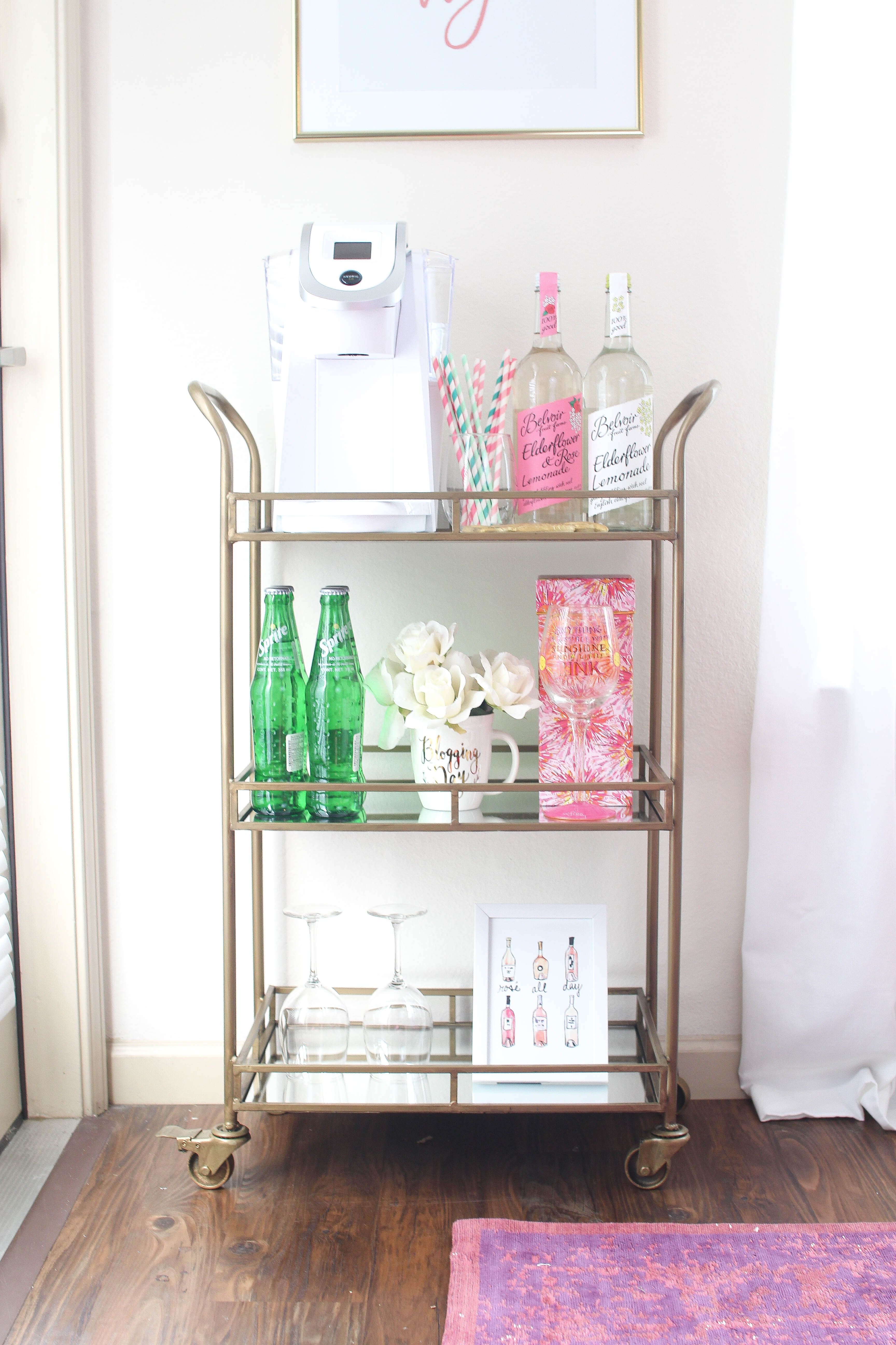 My Bar Cart + How I Easily Decorated it using photoshop! Adorable ...