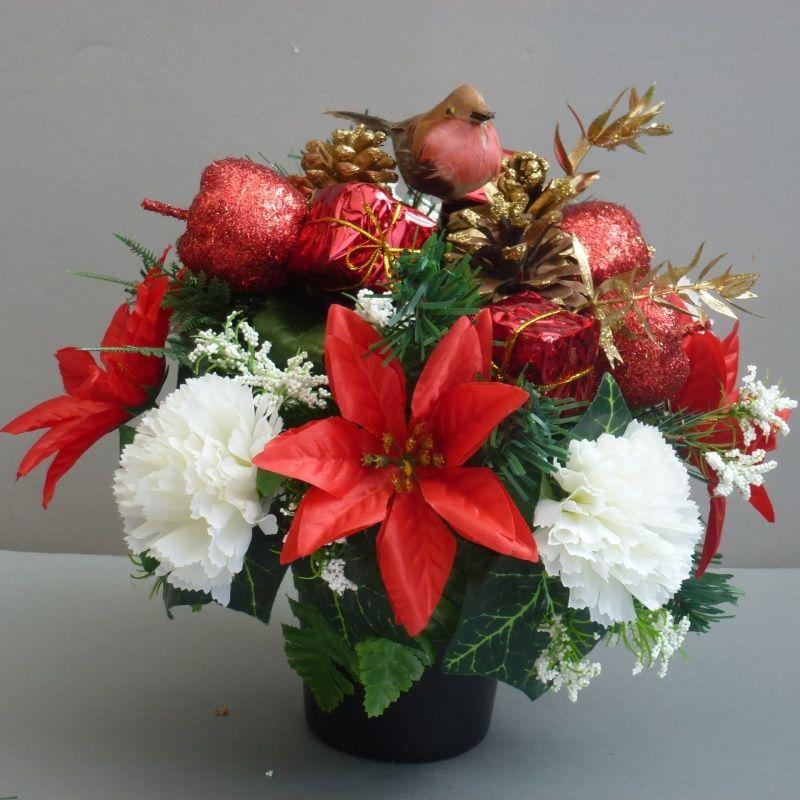 Christmas Memorial Pot With Silk Carnations Poinsettias