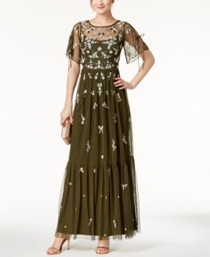 Adrianna Papell Embellished Floral Gown In Olive Modesens Gowns Womens Dresses Review Dresses