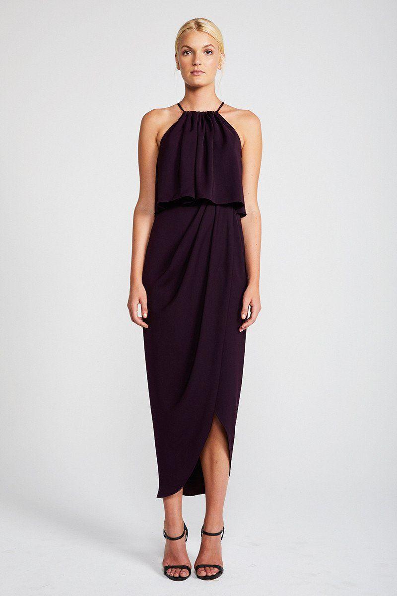 Core high neck frill dress - aubergine   Frill dress and Weddings