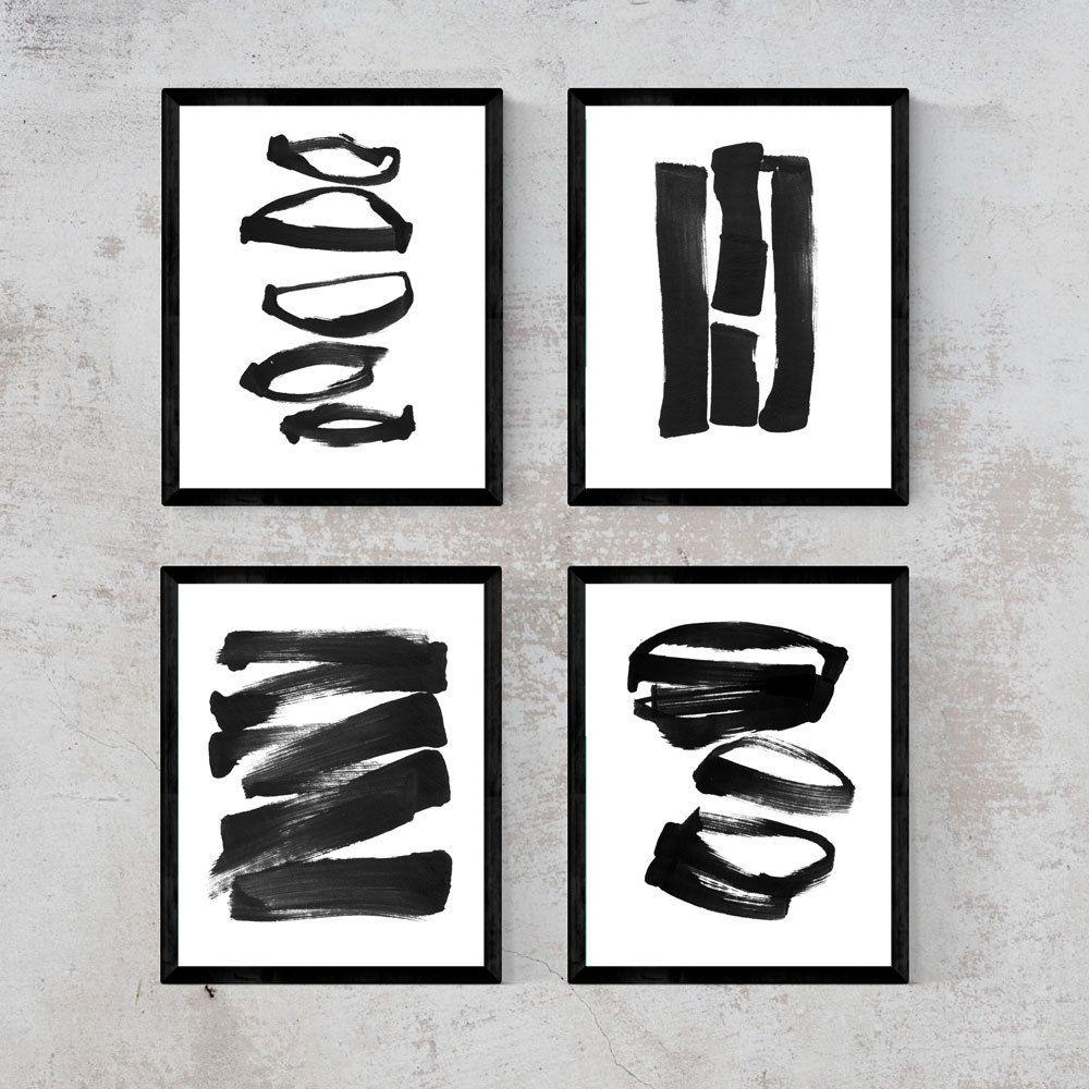 Black Ink Painting Print Set Framed Or Unframed Set Of 4