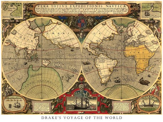 Antique world map map of the world drakes voyage retro art antique world map map of the world drakes voyage retro art retro gumiabroncs Gallery