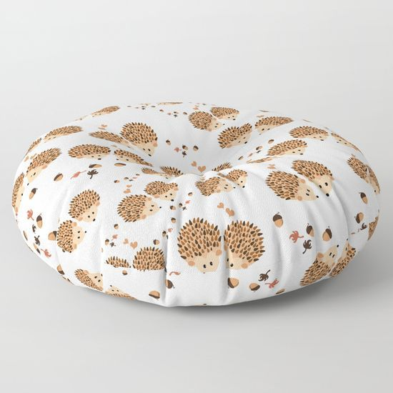 Hedgehogs in autumn Floor Pillow #floorpillow , #cushions ...