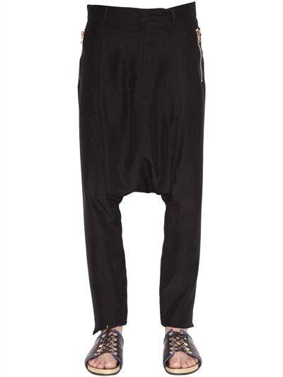 BALMAIN Silk Pants W/ Low Crotch, Black. #balmain #cloth #pants