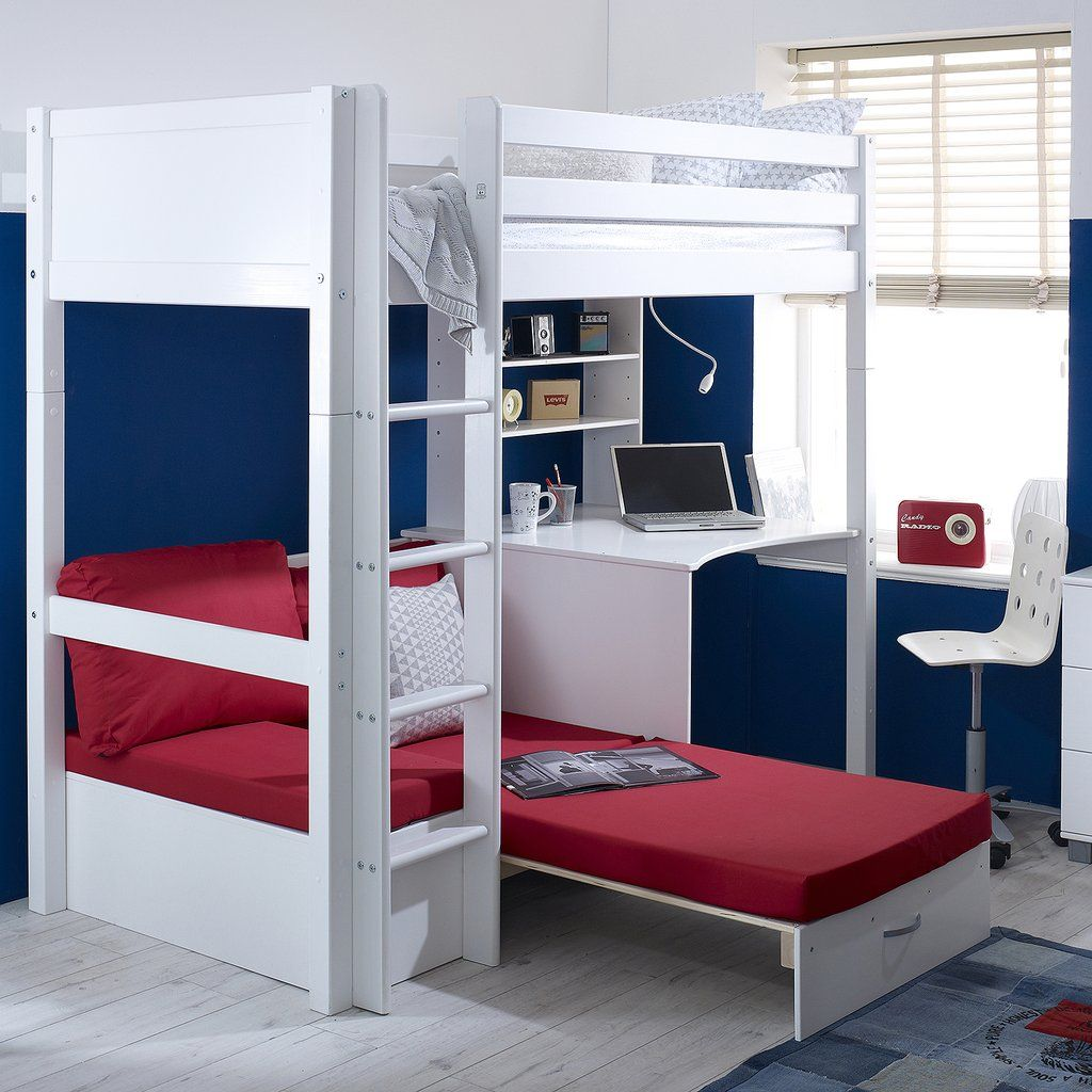 Flexa Nordic Highsleeper Bed With Desk Red Sofabed High