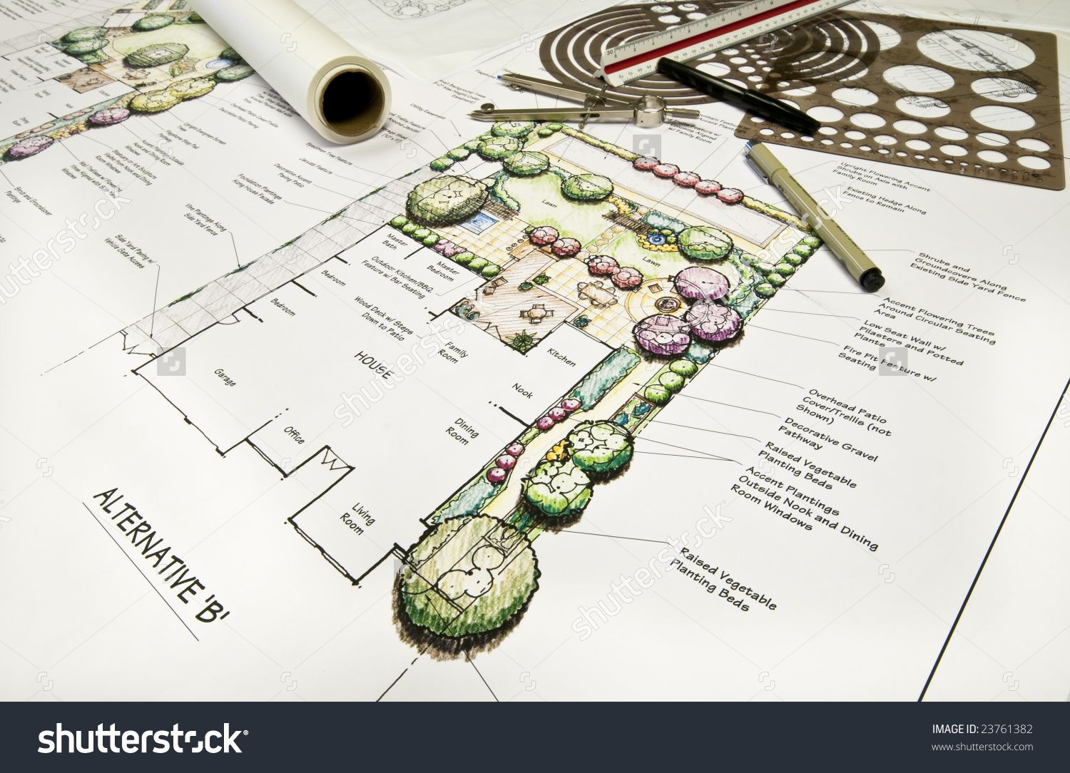 Residential Back Yard Landscape Design With Drafting Equipment - Drafting equipment