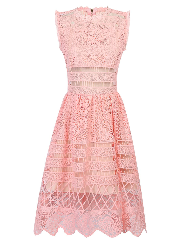Pink cut out dress  Pink Scalloped Hem Cut Out Lace Skater Dress  Lace  Pinterest