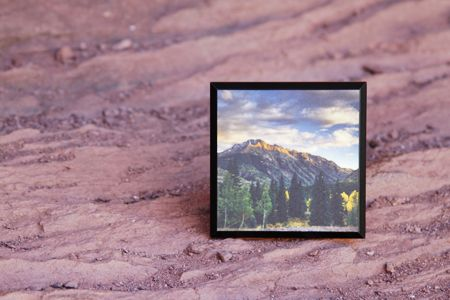 A beautiful mountain scene on our 4x4 PlaqCard.