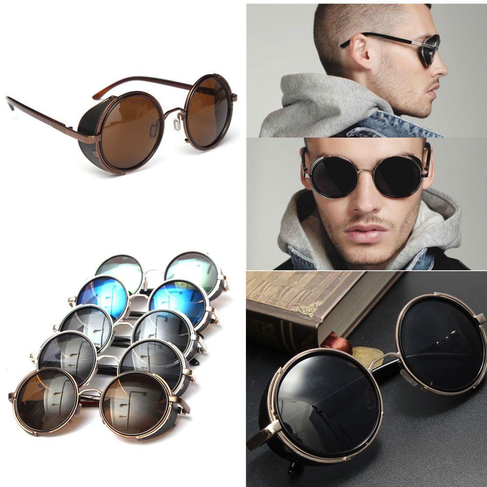 Vintage Retro Round Sun Glasses Cyber Goggles Steampunk Punk Goth Sunglasses