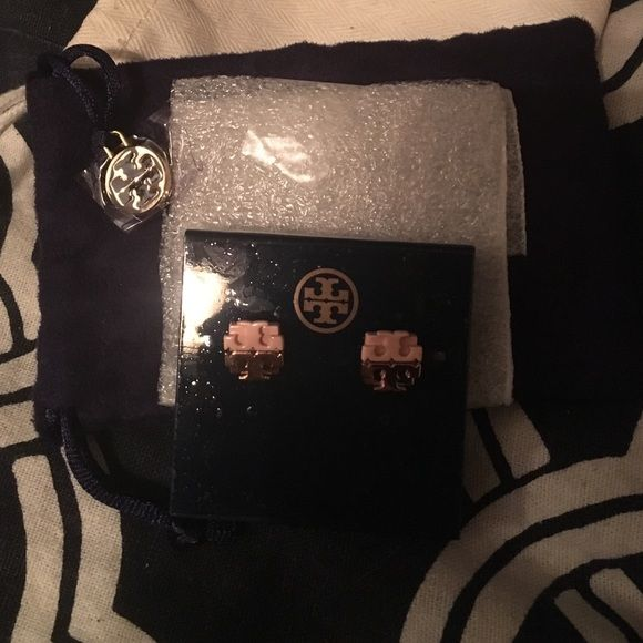 Tory Burch Dipped Logo Stud Earrings Rose Gold Beautiful Authentic Rose Gold Dipped Earrings. These are brand new and have never been worn before.   No Trades  No PP  If you have any questions please ask! Tory Burch Jewelry Earrings